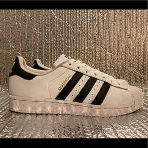 Adidas Superstar C77153 White Black Running Shoes Lace Up Low Top Women's Size 9